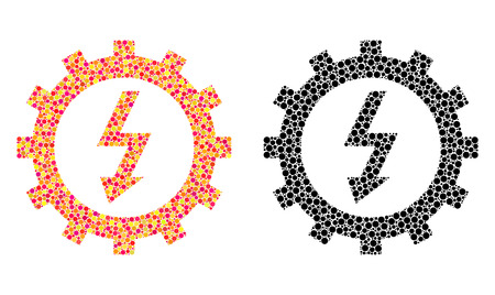Dotted electric energy cog wheel mosaic icons. Vector electric energy cog wheel icons in colorful and black versions. Collages of different spheric dots. 向量圖像
