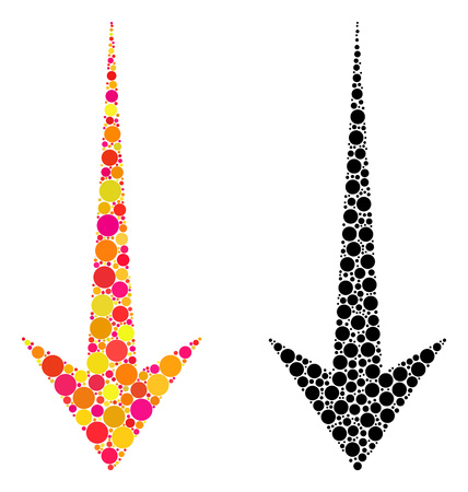 Dot arrow down mosaic icons. Vector arrow down icons in colorful and black versions. Collages of variable spheric dots. Vector concepts of arrow down icons designed of variable spots. Stock Illustratie