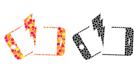 Pixel broken smartphone mosaic icons. Vector broken smartphone icons in colorful and black versions. Collages of casual round dots. Çizim