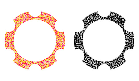 Dot gear wheel mosaic icons. Vector gear wheel icons in bright and black versions. Collages of arbitrary spheric dots. Vector concepts of gear wheel icons composed of randomized dots. Çizim