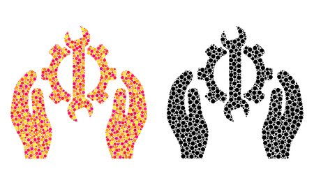 Dotted repair service mosaic icons. Vector repair service icons in multi-colored and black versions. Collages of arbitrary round elements. Vector collages of repair service icons done of random spots.
