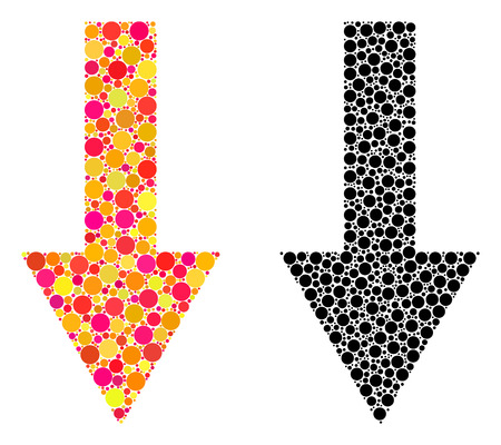 Dot arrow down mosaic icons. Vector arrow down pictograms in multi-colored and black versions. Collages of arbitrary circle elements. Çizim