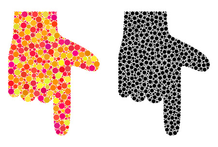 Dotted hand pointer down mosaic icons. Vector hand pointer down pictograms in colorful and black versions. Collages of randomized round spots.