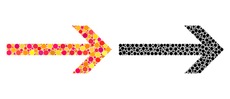 Dotted arrow right mosaic icons. Vector arrow right icons in bright and black versions. Collages of arbitrary round dots. Vector collages of arrow right icons designed of variable spots.