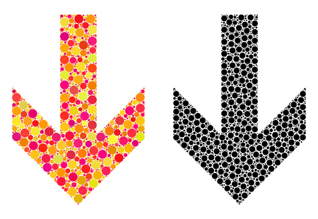 Pixel arrow down mosaic icons. Vector arrow down icons in multi-colored and black versions. Collages of randomized spheric dots. Vector collages of arrow down icons combined with irregular round dots. Ilustração