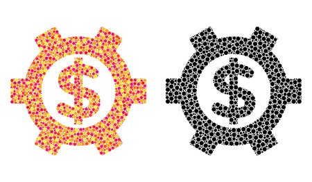 Pixel financial settings mosaic icons. Vector financial settings icons in bright and black versions. Collages of arbitrary round elements. Çizim