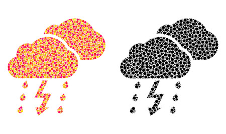 Dot thunderstorm mosaic icons. Vector thunderstorm pictograms in colorful and black versions. Collages of arbitrary circle spots. Çizim