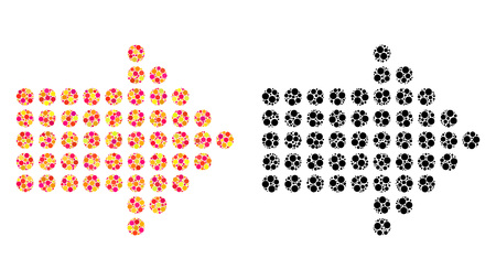 Dotted arrow right mosaic icons. Vector dotted arrow right icons in colorful and black versions. Collages of casual circle elements.