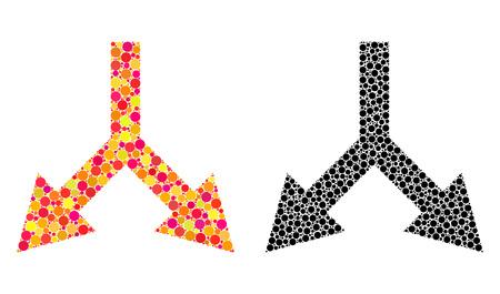 Pixel biforcazione freccia giù icone di mosaico. Icone di biforcazione vettoriale freccia giù nelle versioni luminose e nere. Collage di elementi rotondi arbitrari.
