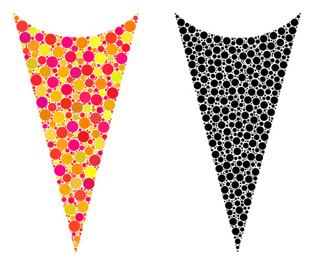 Dotted arrowhead down mosaic icons. Vector arrowhead down icons in colorful and black versions. Collages of irregular circle elements.
