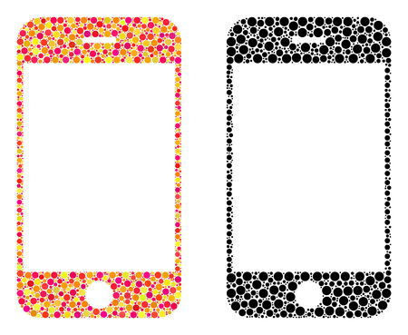 Dot smartphone mosaic icons. Vector smartphone icons in multi-colored and black versions. Collages of arbitrary round elements. Vector collages of smartphone icons formed of different small spheres.
