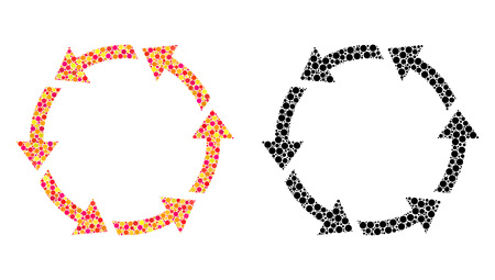 Dot rotate ccw mosaic icons. Vector rotate ccw pictograms in colorful and black versions. Collages of arbitrary round elements. Vector collages of rotate ccw icons made of irregular round dots. Çizim