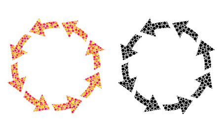 Pixel rotate ccw mosaic icons. Vector rotate ccw icons in bright and black versions. Collages of arbitrary round spots. Vector concepts of rotate ccw icons combined of scattered round pixels. Çizim