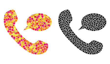 Pixel phone message mosaic icons. Vector phone message icons in colorful and black versions. Collages of arbitrary round elements.