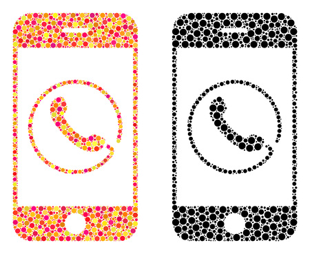 Pixel smartphone phone mosaic icons. Vector smartphone phone icons in colorful and black versions. Collages of arbitrary spheric dots.