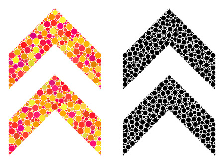 Dotted shift up mosaic icons. Vector shift up icons in colorful and black versions. Collages of arbitrary spheric dots. Vector collages of shift up icons formed of arbitrary small spheres.