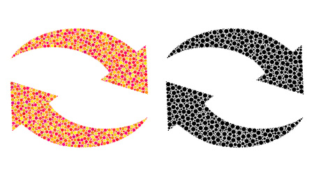 Dot exchange arrows mosaic icons. Vector exchange arrows icons in bright and black versions. Collages of irregular circle elements.