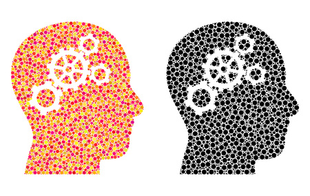 Dotted brain gears mosaic icons. Vector brain gears icons in bright and black versions. Collages of casual spheric dots. Vector collages of brain gears icons constructed of arbitrary small spheres. Çizim