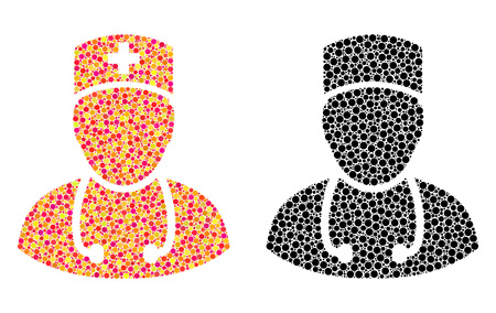 Dot doctor mosaic icons. Vector doctor icons in multi-colored and black versions. Collages of irregular round elements. Vector collages of doctor images combined with arbitrary round pixels.
