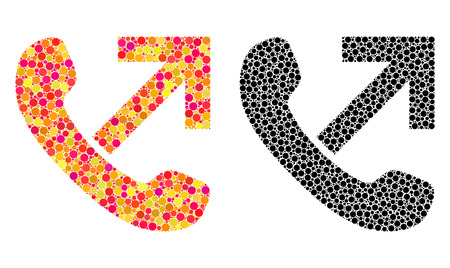 Dot outgoing call mosaic icons. Vector outgoing call icons in multi-colored and black versions. Collages of variable round dots. Vector concepts of outgoing call icons formed of irregular round dots.