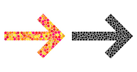 Dotted right arrow mosaic icons. Vector right arrow icons in colorful and black versions. Collages of arbitrary circle spots. Vector collages of right arrow icons created of random small circles.