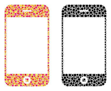 Pixel smartphone mosaic icons. Vector smartphone icons in colorful and black versions. Collages of random spheric elements. Vector collages of smartphone icons combined of random spheric particles.