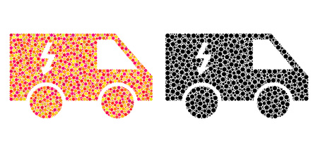 Dot electrical car mosaic icons. Vector electrical car icons in bright and black versions. Collages of arbitrary circle dots. Çizim