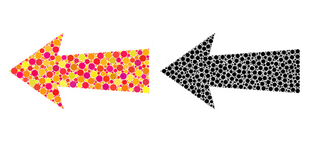 Dot arrow left mosaic icons. Vector arrow left icons in colorful and black versions. Collages of arbitrary circle dots. Vector collages of arrow left images done of randomized round dots. Vectores