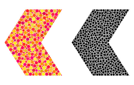 Dotted direction left mosaic icons. Vector direction left pictograms in colorful and black versions. Collages of arbitrary round elements.