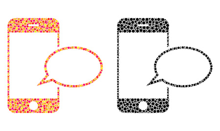 Dot smartphone message balloon mosaic icons. Vector smartphone message balloon icons in bright and black versions. Collages of arbitrary circle elements.
