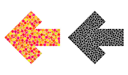 Dot arrow left mosaic icons. Vector arrow left icons in colorful and black versions. Collages of random circle spots. Vector collages of arrow left icons combined of random round pixels.
