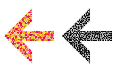 Pixel arrow left mosaic icons. Vector arrow left icons in multi-colored and black versions. Collages of variable round dots. Vector concepts of arrow left icons formed of different round dots.