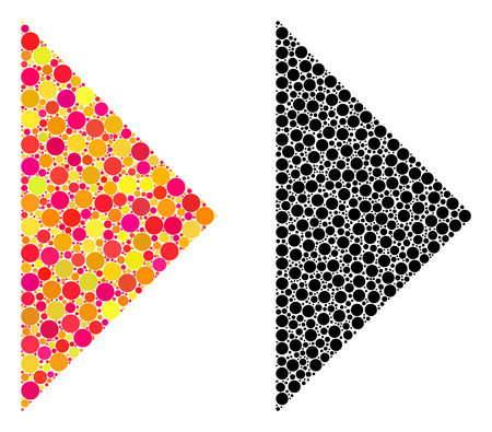 Dot arrowhead right mosaic icons. Vector arrowhead right icons in multi-colored and black versions. Collages of arbitrary round dots.