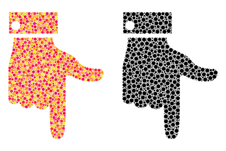 Dotted hand pointer down mosaic icons. Vector hand pointer down icons in colorful and black versions. Collages of random spheric elements.