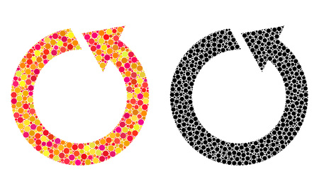 Dot rotate ccw mosaic icons. Vector rotate ccw icons in colorful and black versions. Collages of different circle dots. Vector collages of rotate ccw images composed of random round dots.