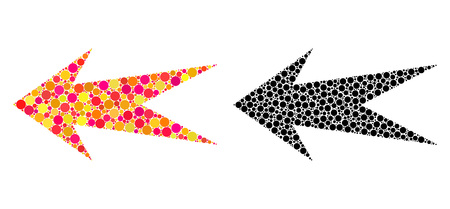 Dotted arrow left mosaic icons. Vector arrow left pictograms in multi-colored and black versions. Collages of arbitrary round elements. Illusztráció