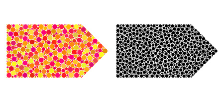 Dot direction right mosaic icons. Vector direction right icons in multi-colored and black versions. Collages of random round dots. Vector mosaics of direction right icons made of random dots. Stock fotó - 126814859