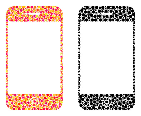 Pixel smartphone mosaic icons. Vector smartphone pictograms in multi-colored and black versions. Collages of arbitrary spheric elements. Stock fotó - 126814860