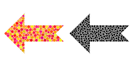 Dotted arrow left mosaic icons. Vector arrow left pictograms in bright and black versions. Collages of arbitrary circle elements. Çizim