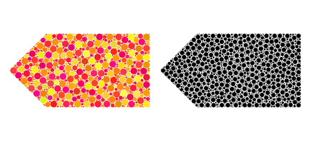 Dotted direction left mosaic icons. Vector direction left pictograms in multi-colored and black versions. Collages of irregular circle dots.