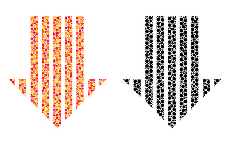 Dotted stripe arrow down mosaic icons. Vector stripe arrow down icons in bright and black versions. Collages of irregular round spots.
