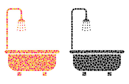Dotted shower bath mosaic icons. Vector shower bath icons in multi-colored and black versions. Collages of random spheric dots. Stock fotó - 126814868