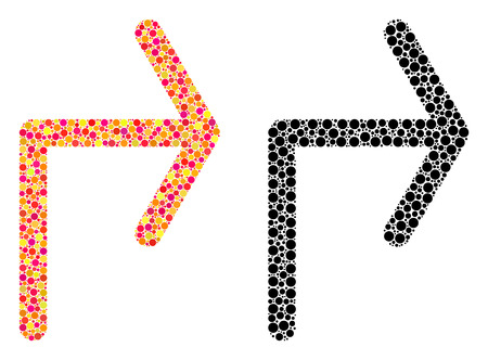 Dotted turn right mosaic icons. Vector turn right pictograms in bright and black versions. Collages of different round dots. Vector compositions of turn right icons designed of random round dots. Illusztráció