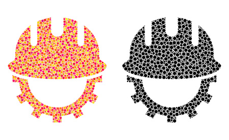 Dot development hardhat mosaic icons. Vector development hardhat icons in multi-colored and black versions. Collages of random round elements.