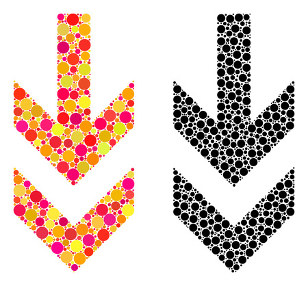 Pixel arrow down mosaic icons. Vector arrow down icons in multi-colored and black versions. Collages of arbitrary round elements. Vector collages of arrow down images formed of random round pixels. Ilustração