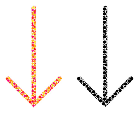 Dot arrow down mosaic icons. Vector arrow down icons in bright and black versions. Collages of randomized spheric spots. Vector concepts of arrow down icons designed of randomized small circles.