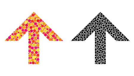 Pixel flèche vers le haut des icônes de la mosaïque. Pictogrammes de flèche vectorielle vers le haut dans les versions multicolores et noires. Collages d'éléments de cercle occasionnels.