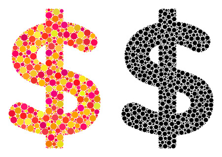 Pixel dollar mosaic icons. Vector dollar icons in bright and black versions. Collages of variable circle elements. Vector collages of dollar images combined of random round elements. Illusztráció