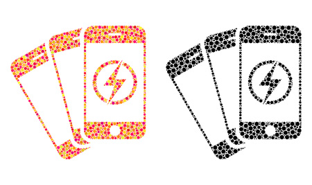 Dot mobile phones energy mosaic icons. Vector mobile phones energy icons in colorful and black versions. Collages of random spheric dots. Stock fotó - 126814887