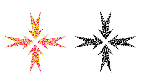 Dotted compression arrows mosaic icons. Vector compression arrows icons in bright and black versions. Collages of arbitrary round spots. Çizim